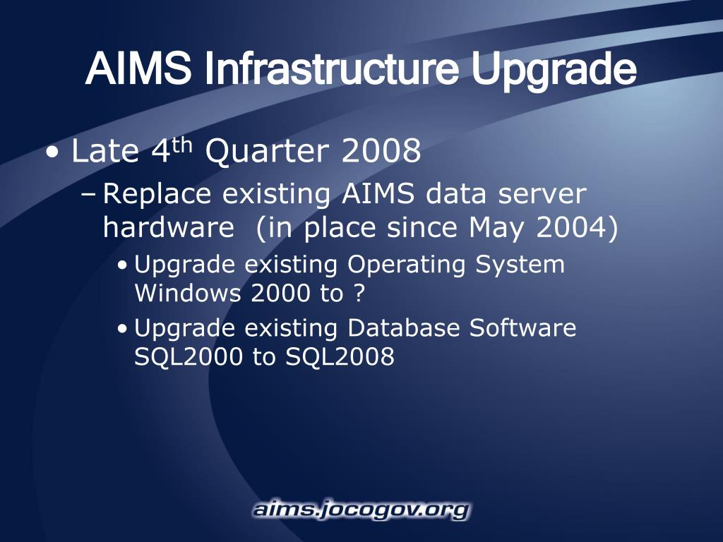 AIMS Infrastructure Upgrade