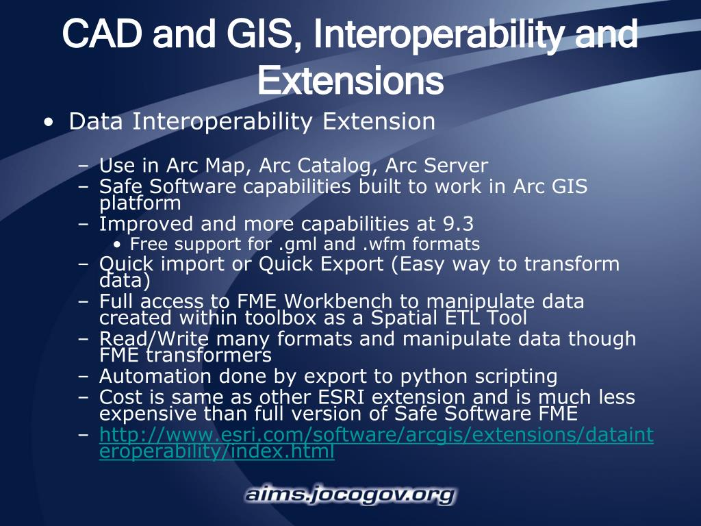 CAD and GIS, Interoperability and Extensions