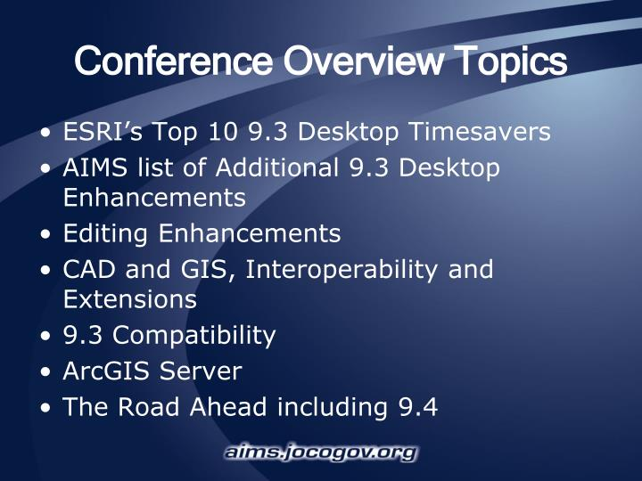 Conference overview topics
