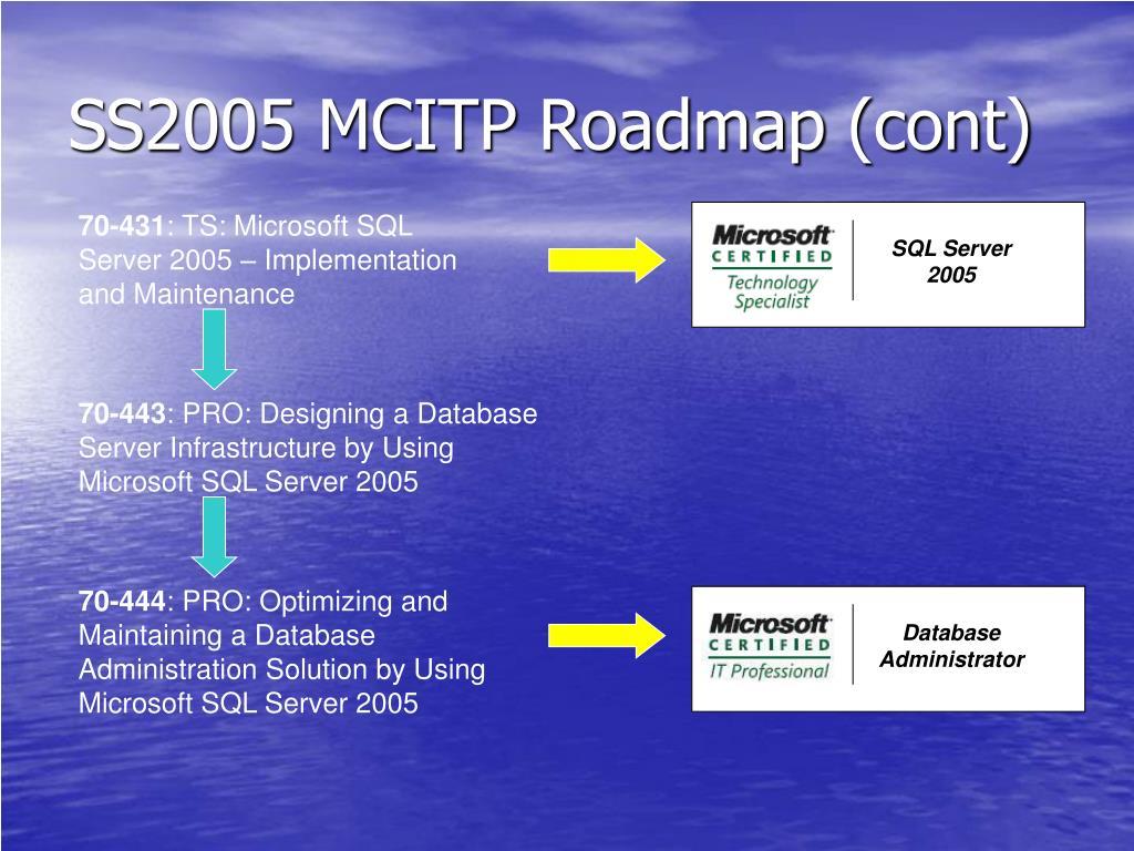 SS2005 MCITP Roadmap (cont)