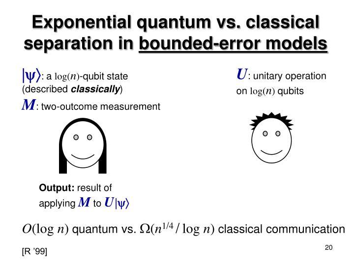 Exponential quantum vs. classical separation in