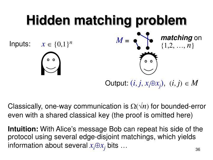 Hidden matching problem