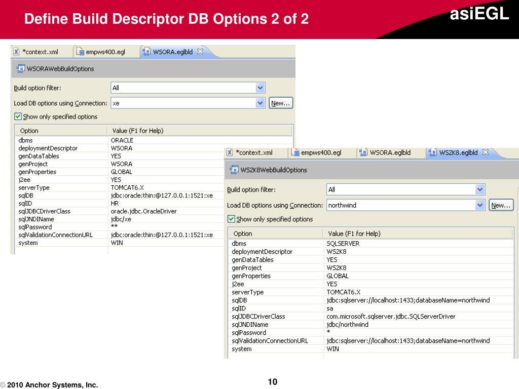 Define Build Descriptor DB Options 2 of 2