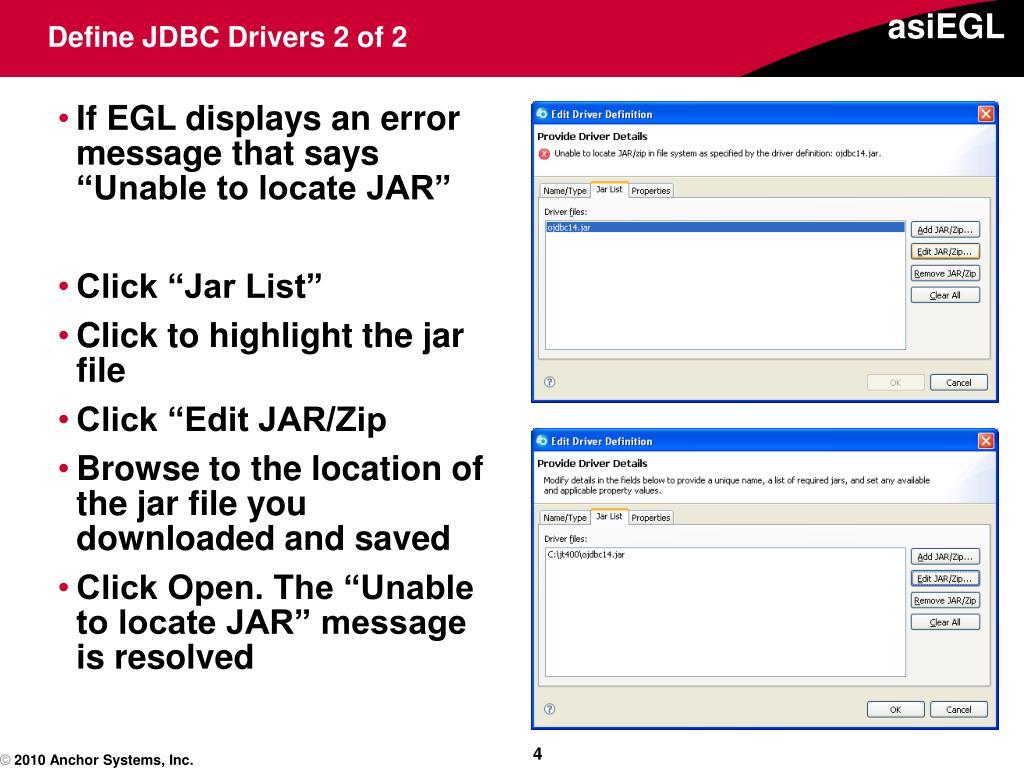Define JDBC Drivers 2 of 2