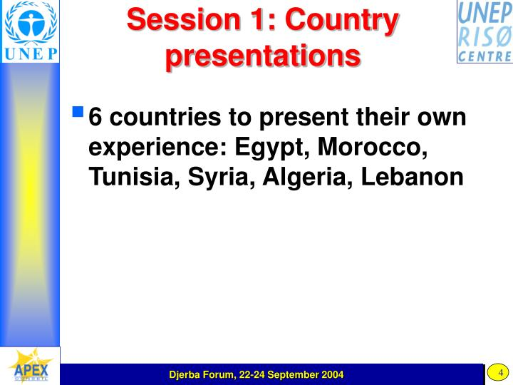 Session 1: Country presentations