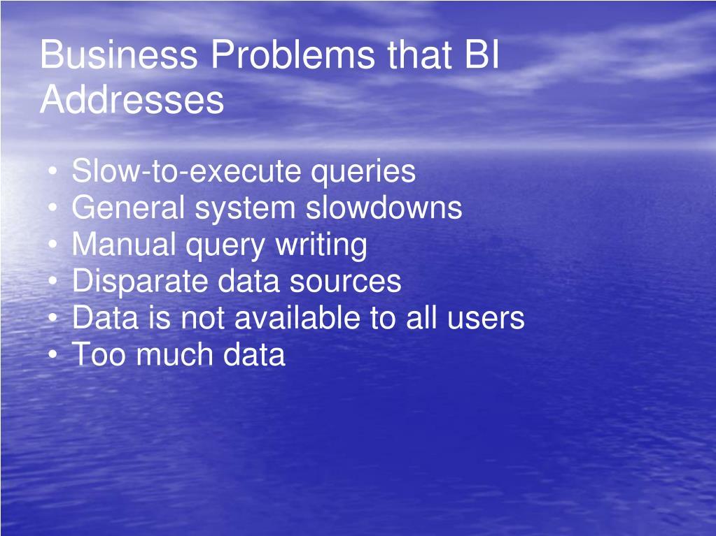Business Problems that BI