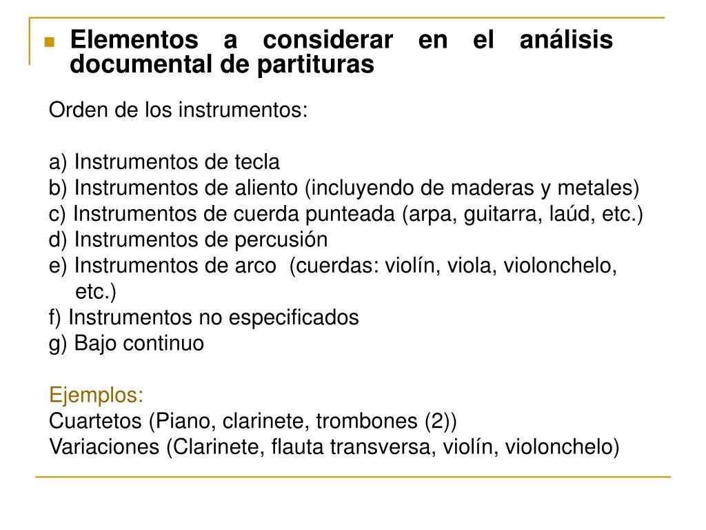 Orden de los instrumentos: