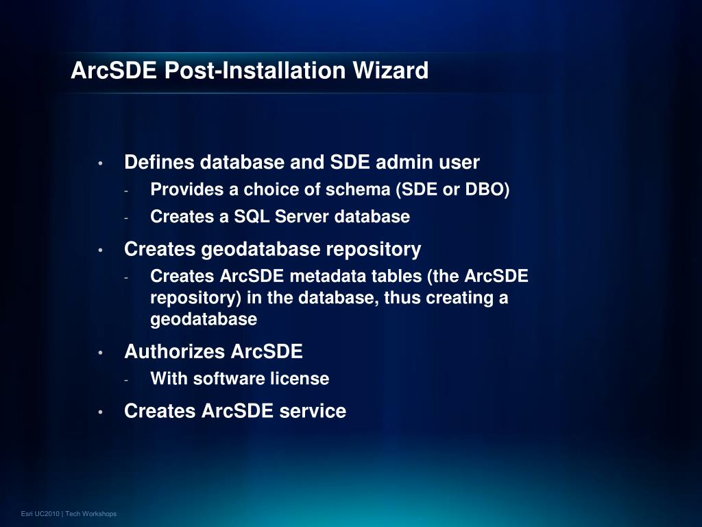ArcSDE Post-Installation Wizard