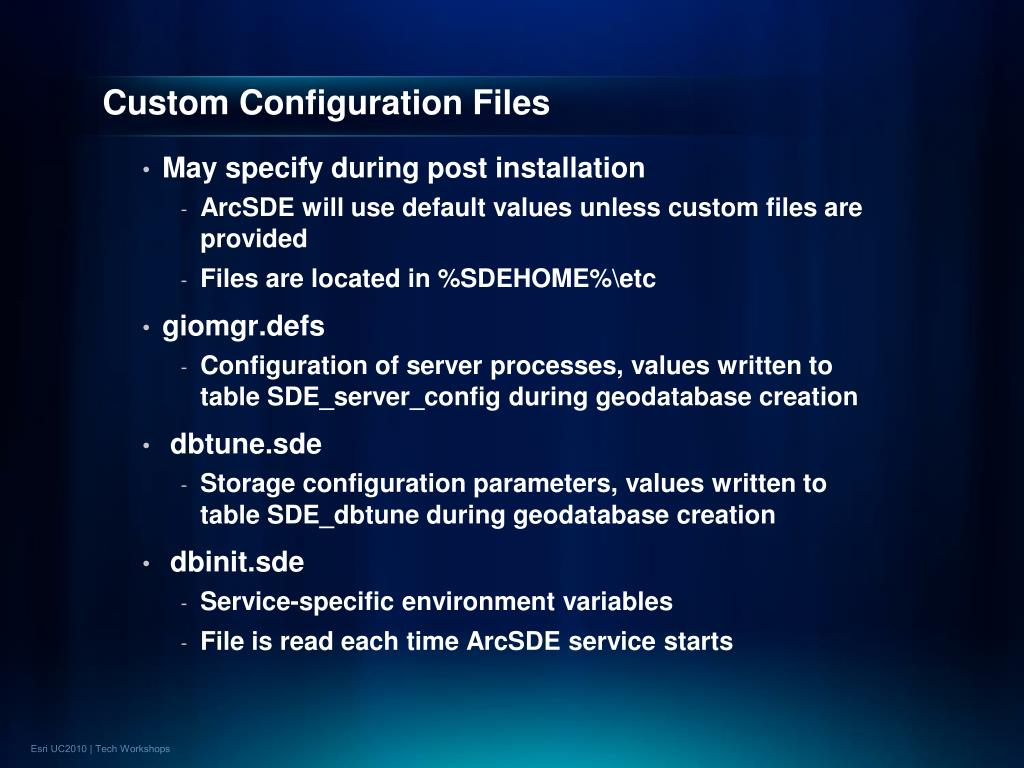 Custom Configuration Files