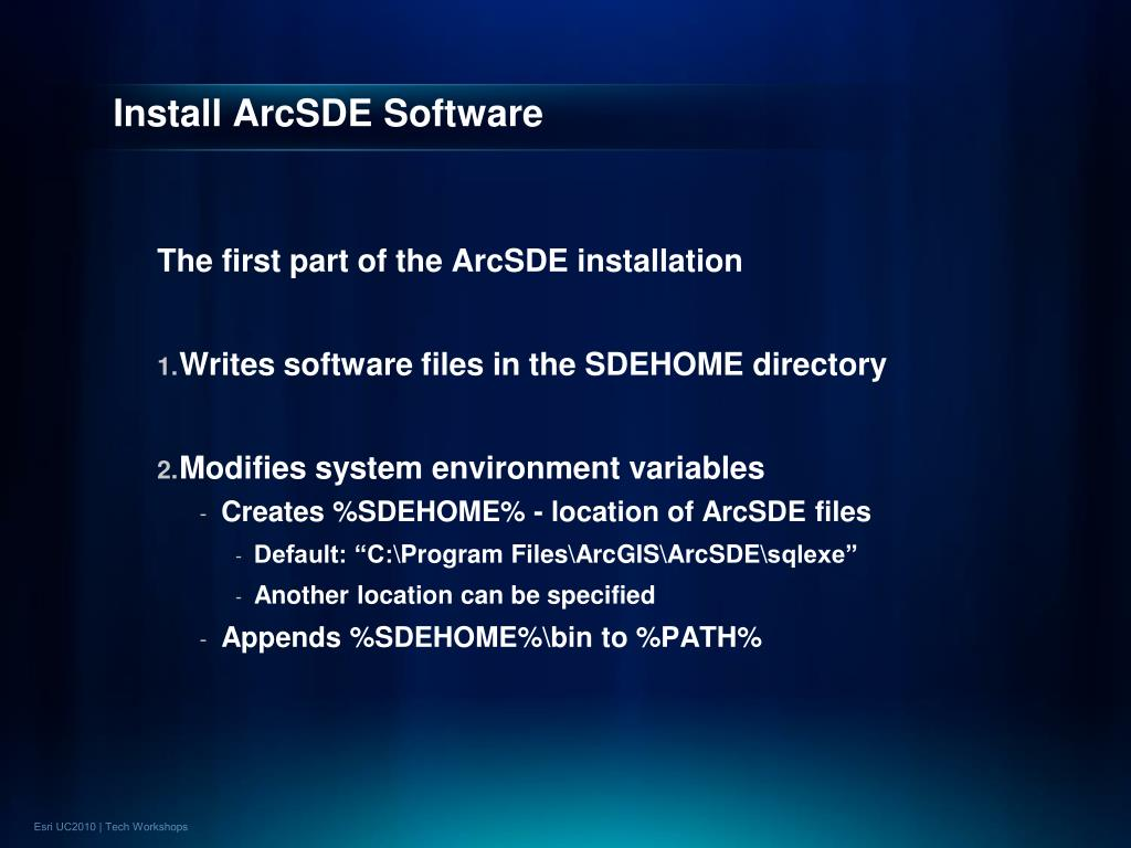 Install ArcSDE Software