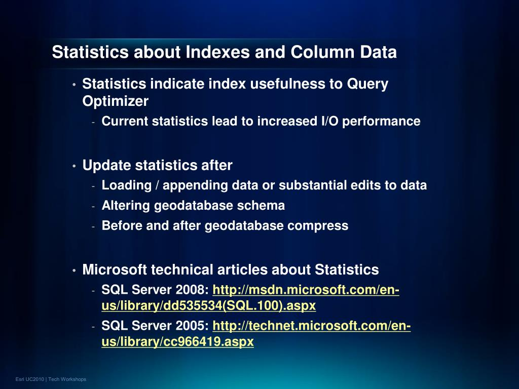 Statistics about Indexes and Column Data