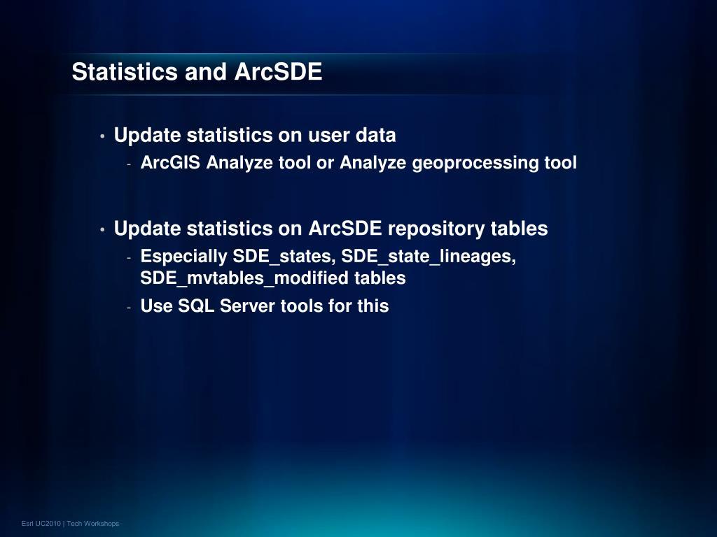 Statistics and ArcSDE