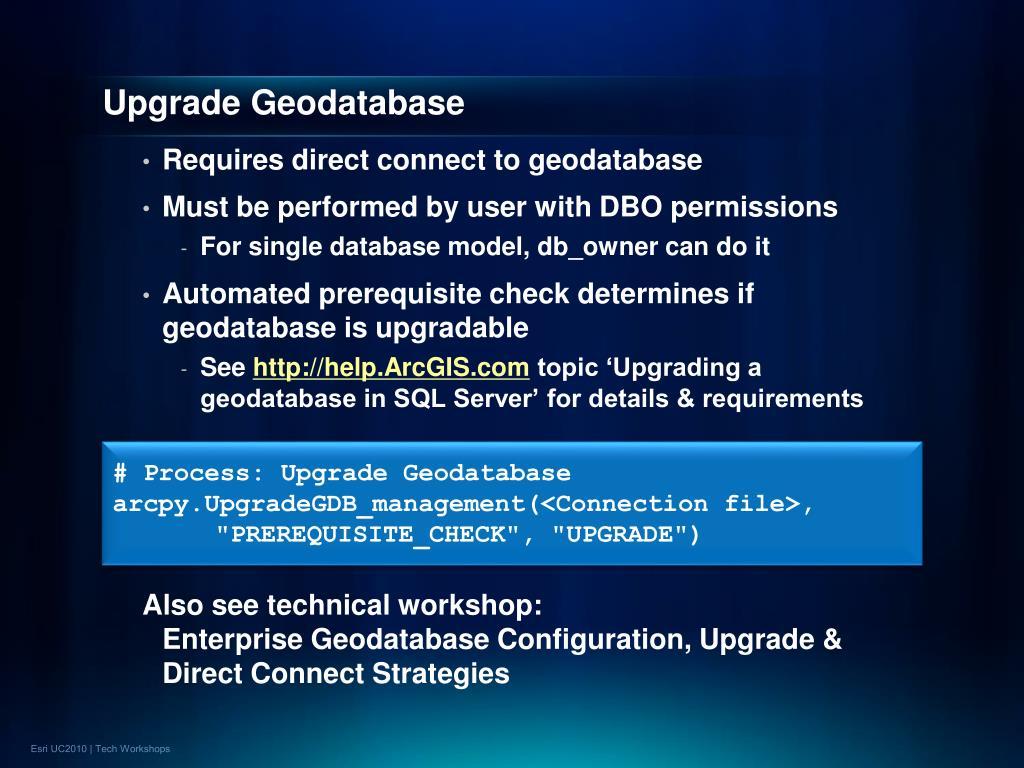 Upgrade Geodatabase