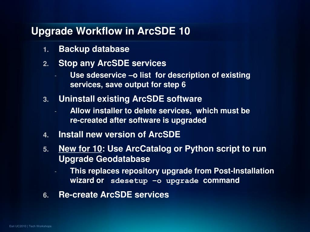 Upgrade Workflow in ArcSDE 10