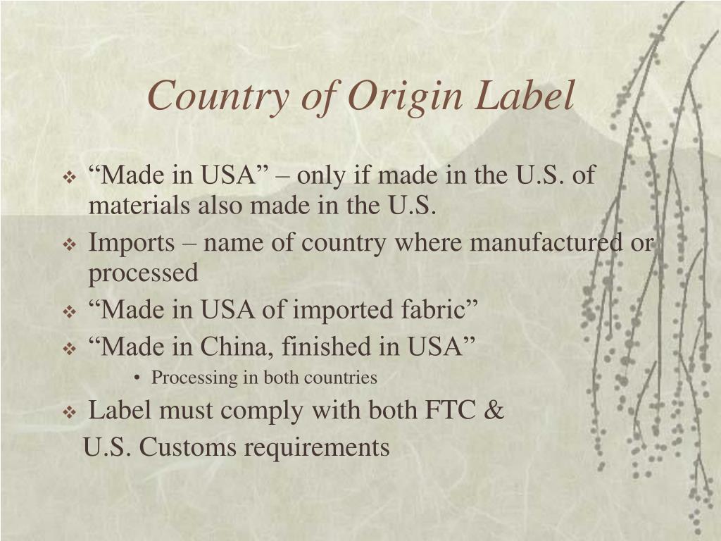 Country of Origin Label