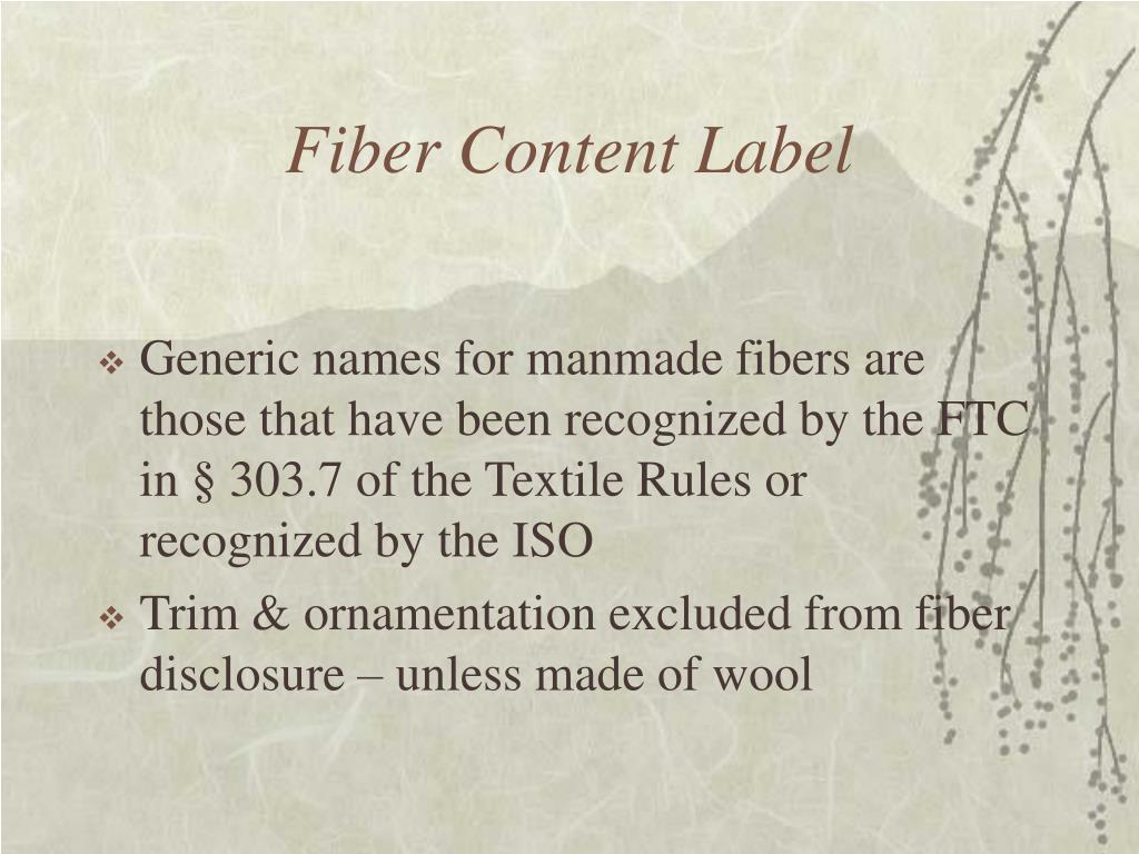 Fiber Content Label
