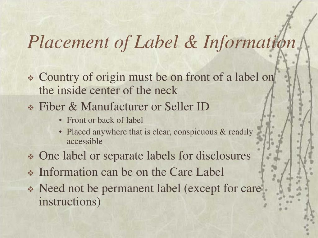 Placement of Label & Information