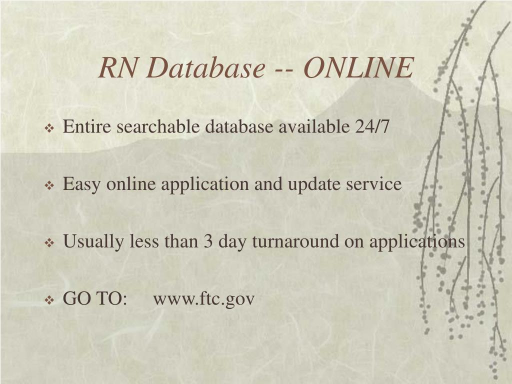 RN Database -- ONLINE