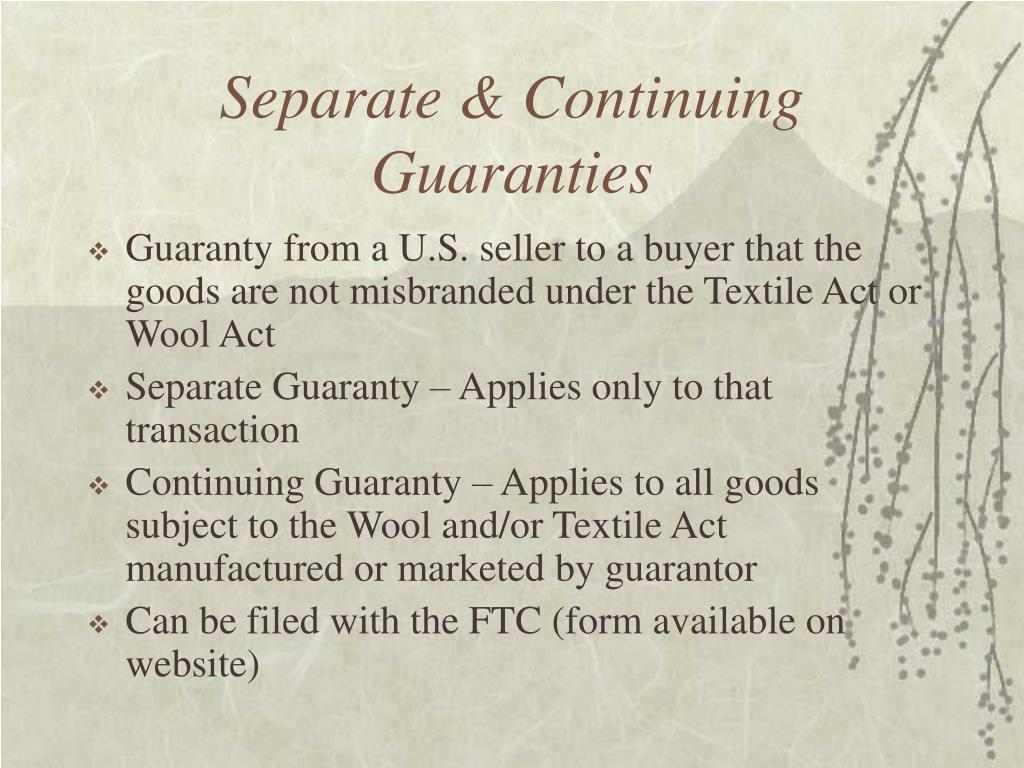 Separate & Continuing Guaranties