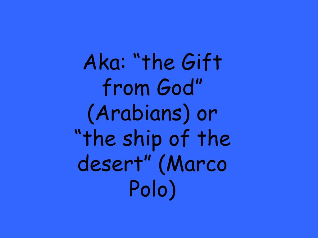 "Aka: ""the Gift from God"" (Arabians) or ""the ship of the desert"" (Marco Polo)"