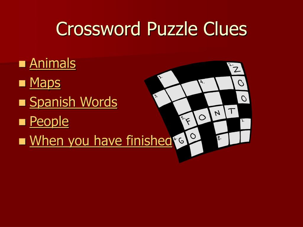 Crossword Puzzle Clues