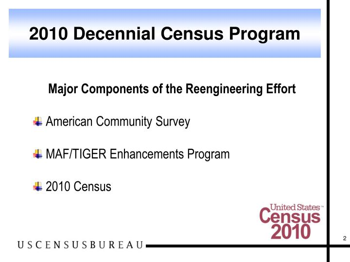 2010 Decennial Census Program