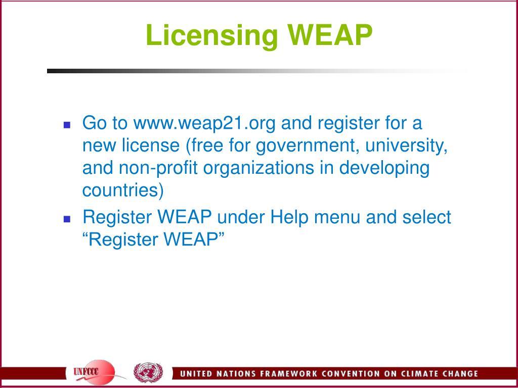 Licensing WEAP