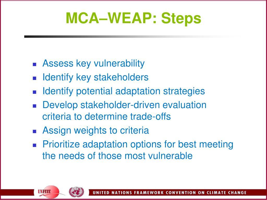 MCA–WEAP: Steps