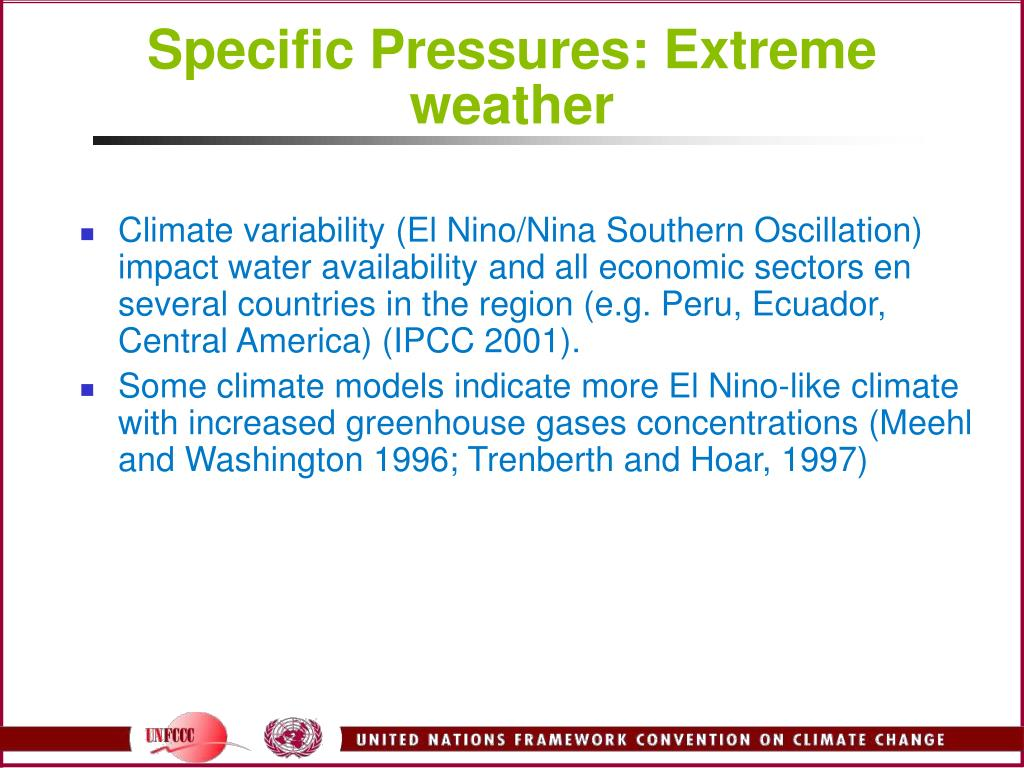 Specific Pressures: Extreme weather