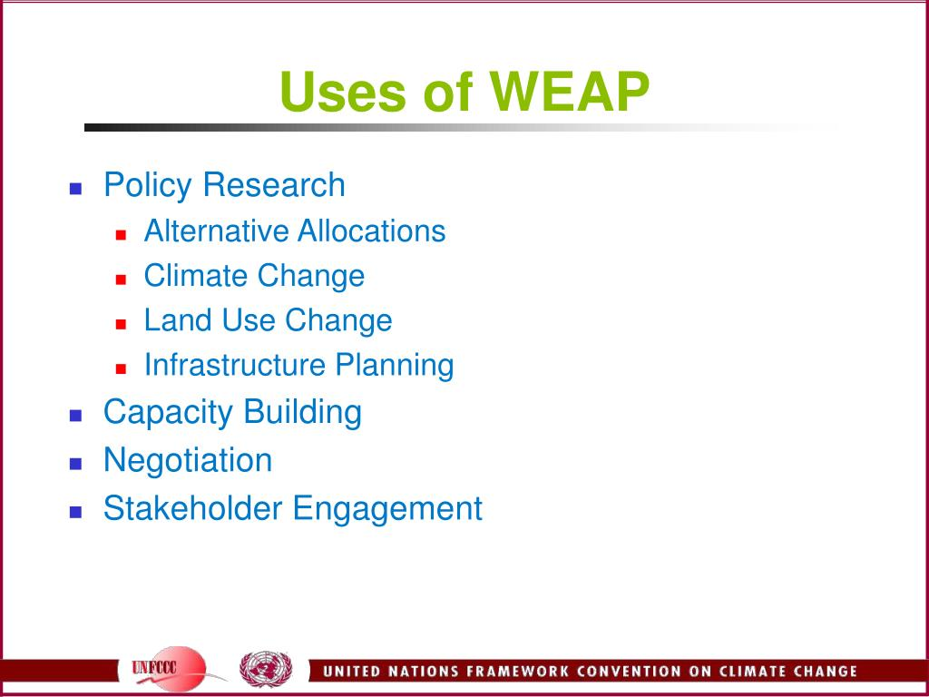 Uses of WEAP