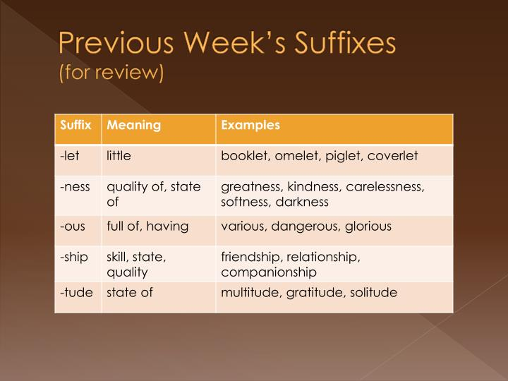 Previous week s suffixes for review