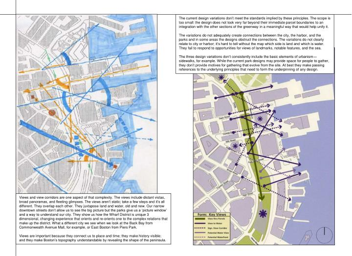 The current design variations don't meet the standards implied by these principles. The scope is too small: the design does not look very far beyond their immediate parcel boundaries to an integration with the other sections of the greenway in a meaningful way that would help unify it.