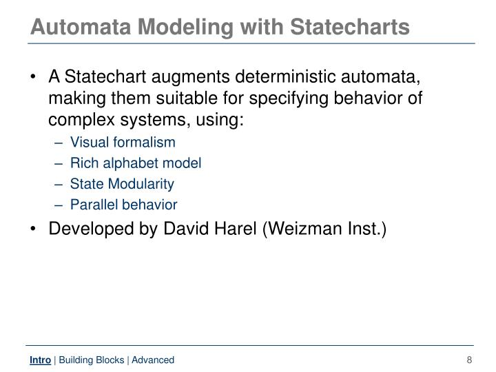 Automata Modeling with Statecharts