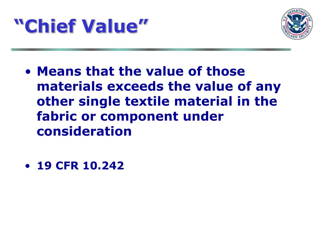 """Chief Value"""