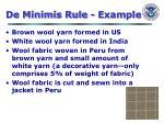 de minimis rule example