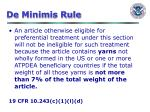 de minimis rule
