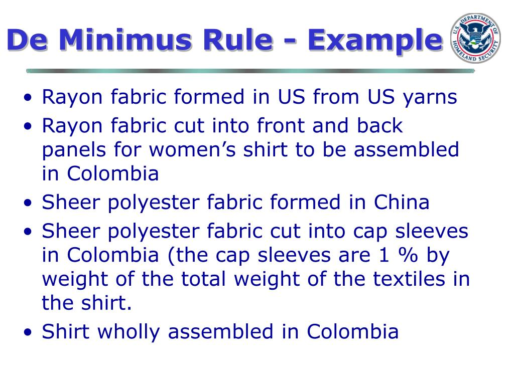 De Minimus Rule - Example