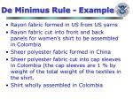 de minimus rule example