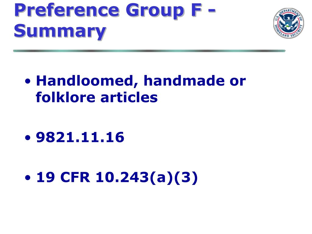 Preference Group F -Summary