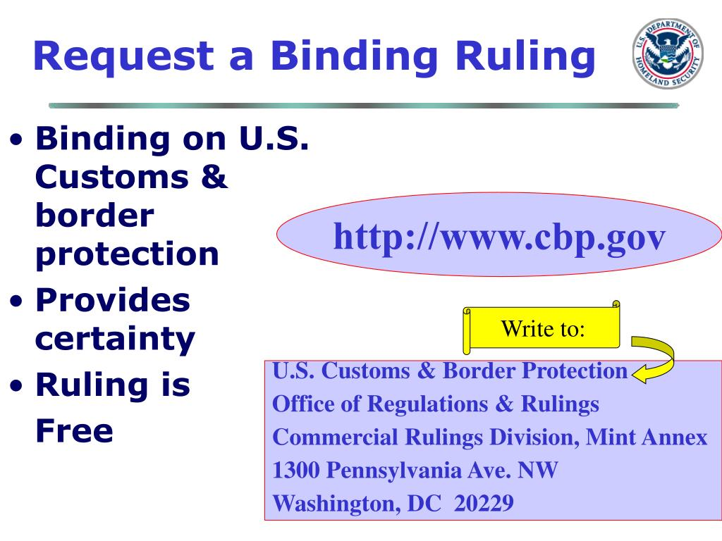 Request a Binding Ruling
