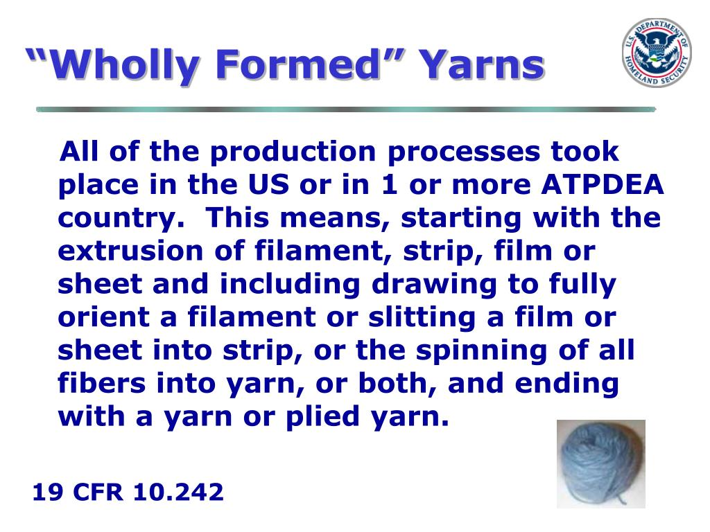 """Wholly Formed"" Yarns"
