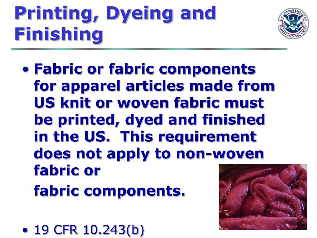 Printing, Dyeing and Finishing