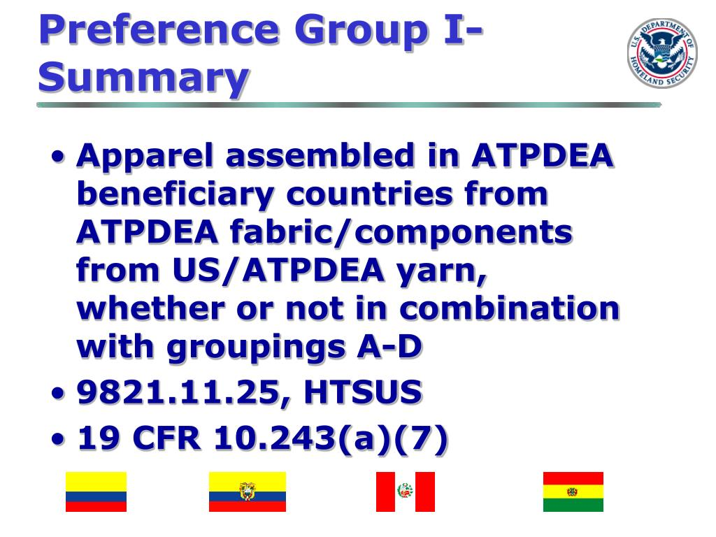 Preference Group I-Summary