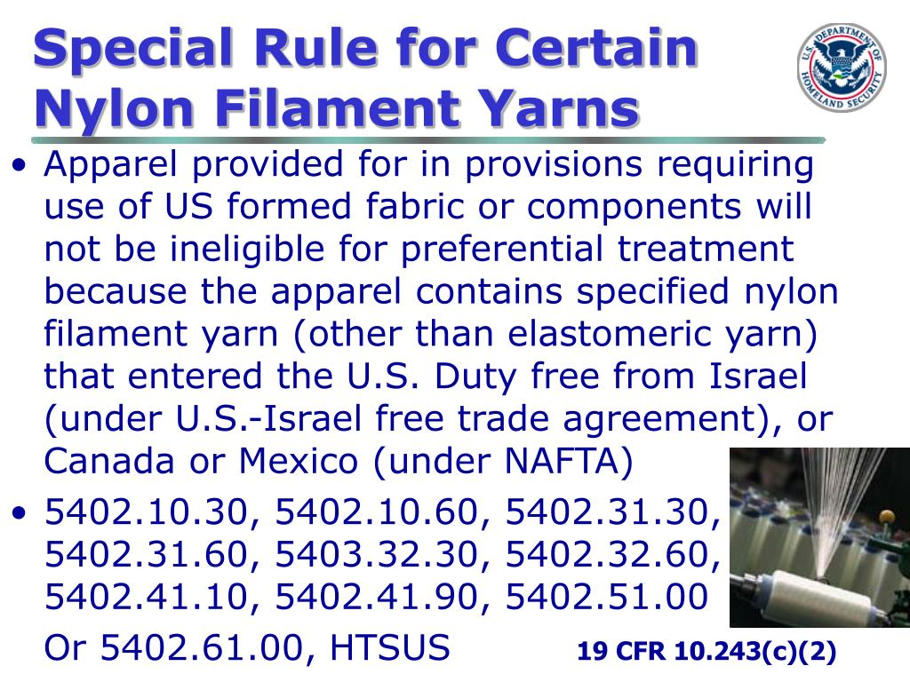 Special Rule for Certain Nylon Filament Yarns