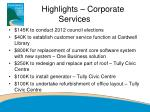 highlights corporate services