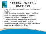 highlights planning environment
