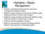 highlights waste management