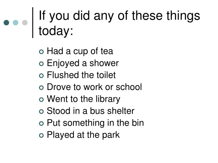 If you did any of these things today: