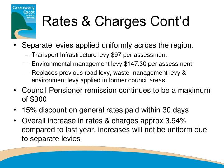 Rates & Charges Cont'd
