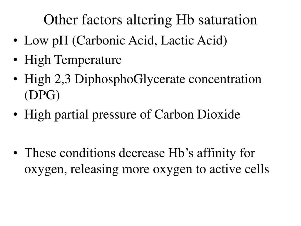Other factors altering Hb saturation